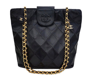 Authentic Chanel Vintage Black Quilted Lambskin Tote