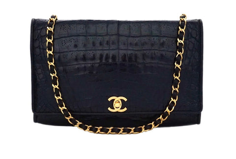 "Authentic Chanel Vintage Black Alligator / Crocodile 10"" Flap Handbag"