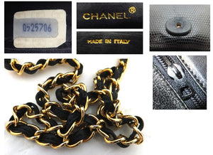 Authentic Chanel Rare Vintage Lizard Flapover