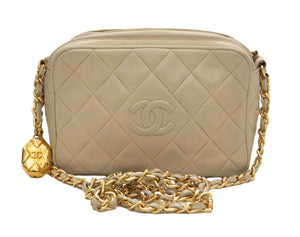 Authentic Chanel Vintage Beige Lambskin Quilted Camera Style Handbag