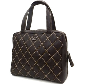Authentic Chanel Brown Calfskin Wild Stitch Surpique Tote