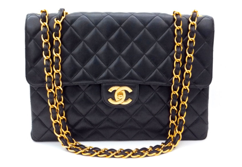 Authentic Chanel Vintage Black Lambskin Maxi Jumbo