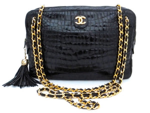 Authentic Chanel Vintage Black Alligator Camera Handbag