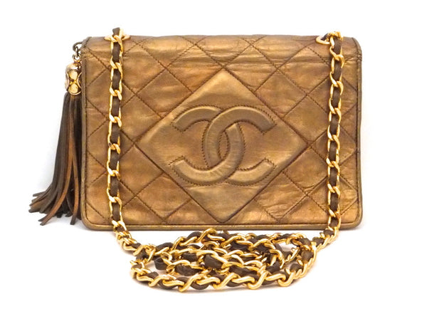 Authentic Chanel Vintage Gold Flapover