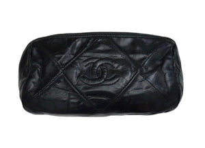 Authentic Chanel Vintage Black Quilted Tube Handbag