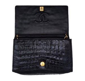 "Chanel Vintage Black Crocodile 10"" Flap Handbag"