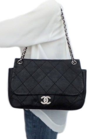 Authentic Chanel Black Caviar Distressed Jumbo + Wallet