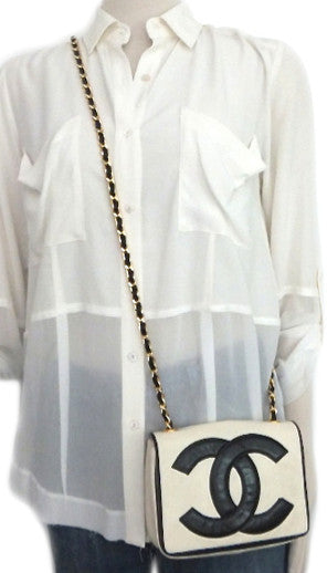 Authentic Chanel Vintage Black & White Mini Flapover