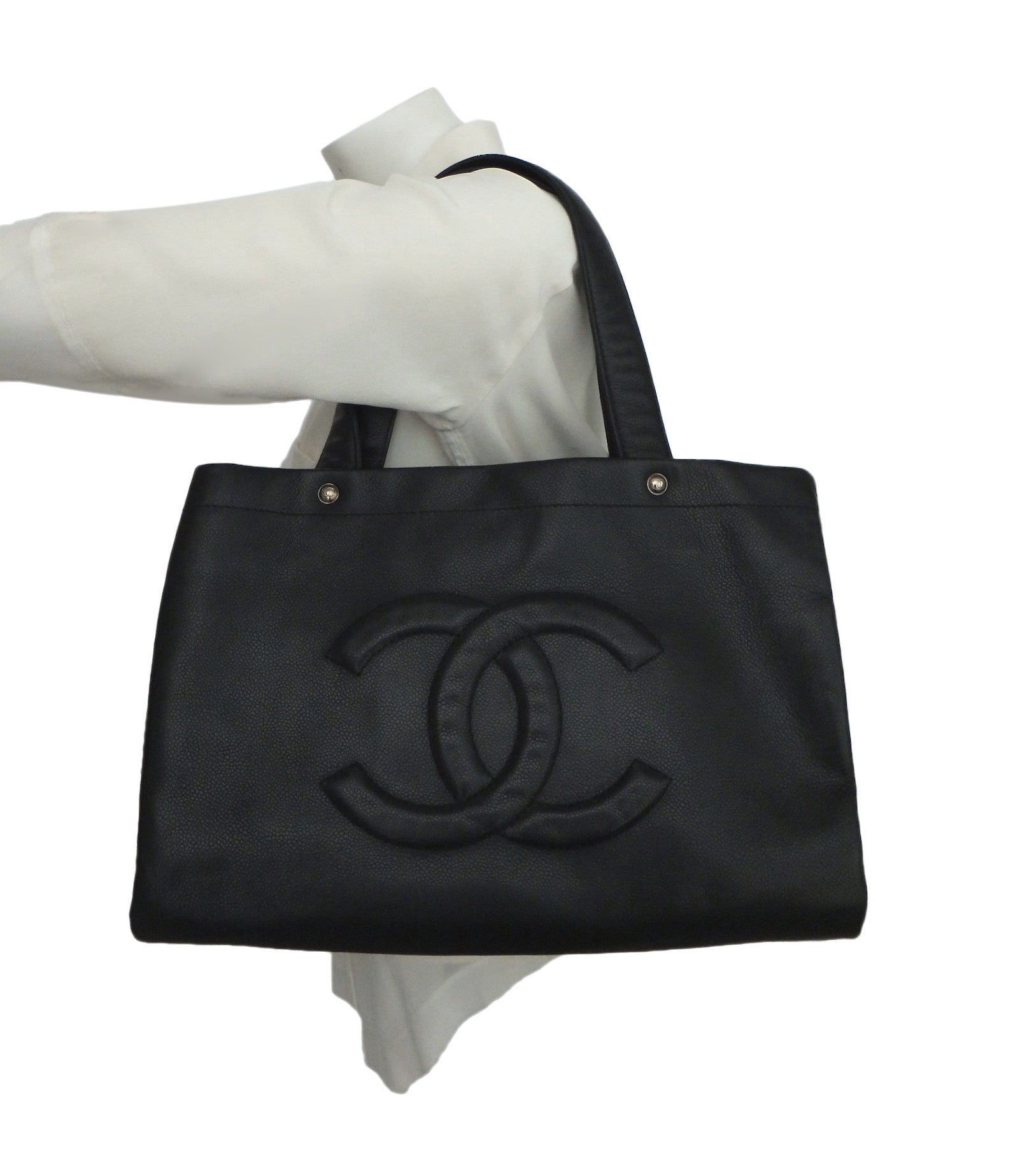 c7c90212713882 Authentic Chanel Caviar Black Jumbo GST Shopper Tote – Classic Coco Authentic  Vintage Luxury