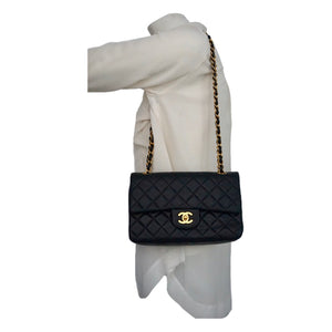 "Authentic Chanel Vintage Black Lambskin 2.55 9"" Flapover"