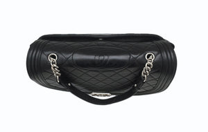Authentic Chanel Black Lambskin Antik Boy Maxi Jumbo XL