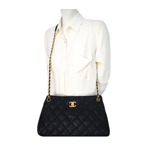 Authentic Chanel Black Calfskin Modern Quilted Tote