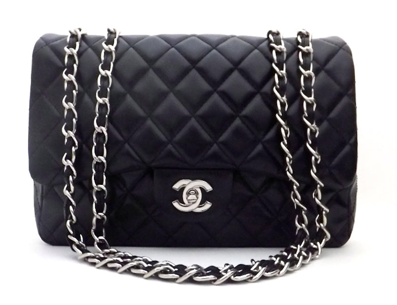 Authentic NEW Chanel Black Lamb with Silver Hardware Maxi Jumbo