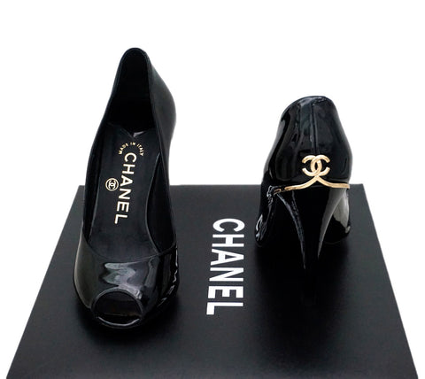 Authentic Chanel Classic Runway Black Patent Open-Toe Pumps