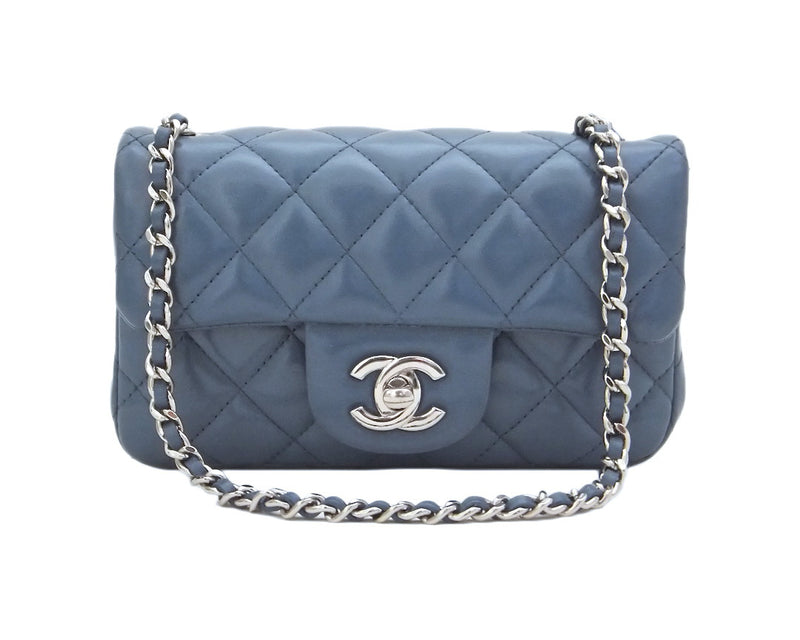 Authentic Chanel Blue Quilted Mini 2.55 Flapover