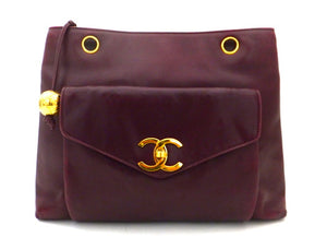 Authentic Chanel Vintage Burgundy Tote