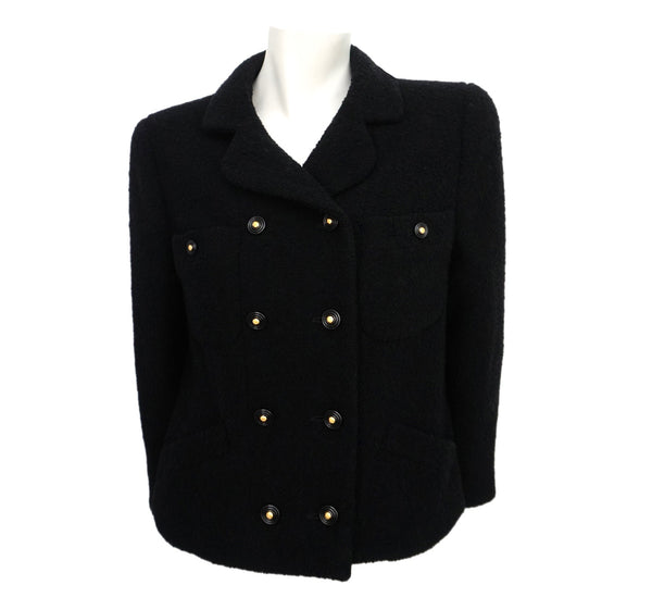 Authentic Chanel Vintage Classic Black Boclue Tweed Jacket