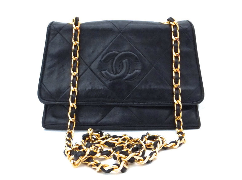 Authentic Chanel Vintage Black Mini Flapover