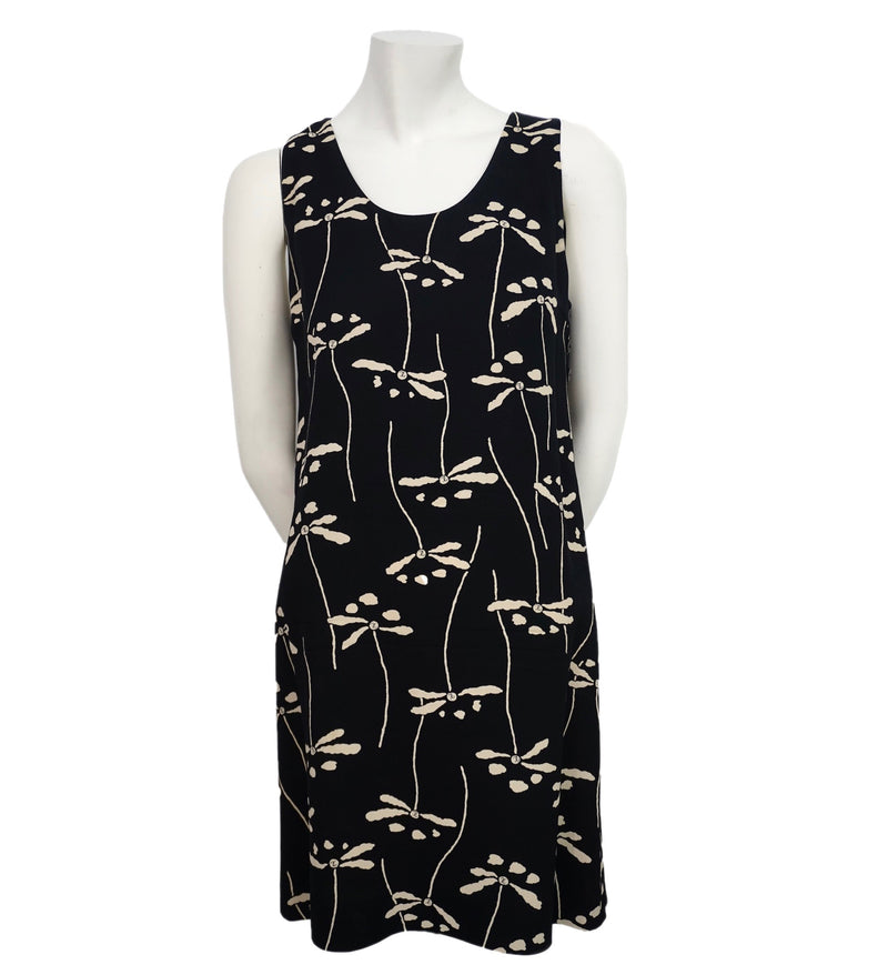 Chanel Vintage Black & Beige Dragonfly Dress