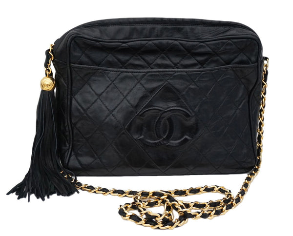 Authentic Chanel Vintage Black Lamb Quilted XL Camera Style Handbag