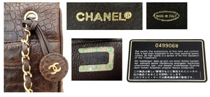 Authentic Chanel Vintage Whiskey Brown Alligator Tote