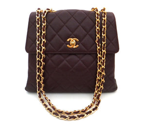 Authentic Chanel Vintage Burgundy Caviar Flapover