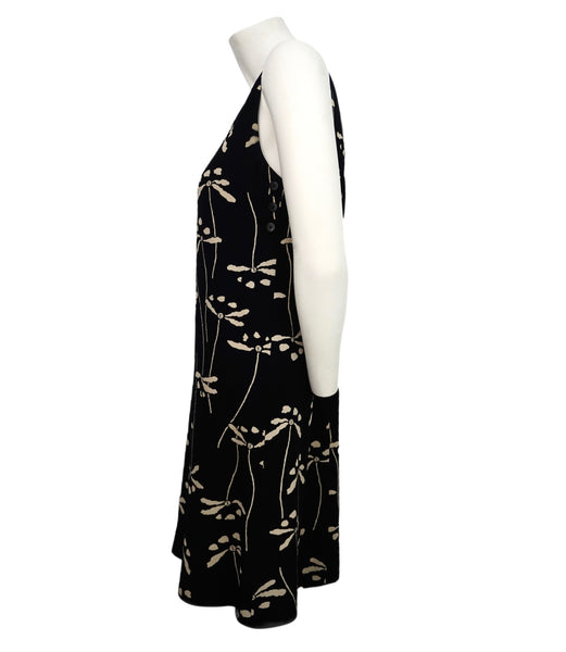 Authentic Chanel Vintage Black & Beige Dragonfly Dress