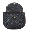 Authentic Chanel Vintage Black Half-Moon Jumbo CC Emblem Flapover