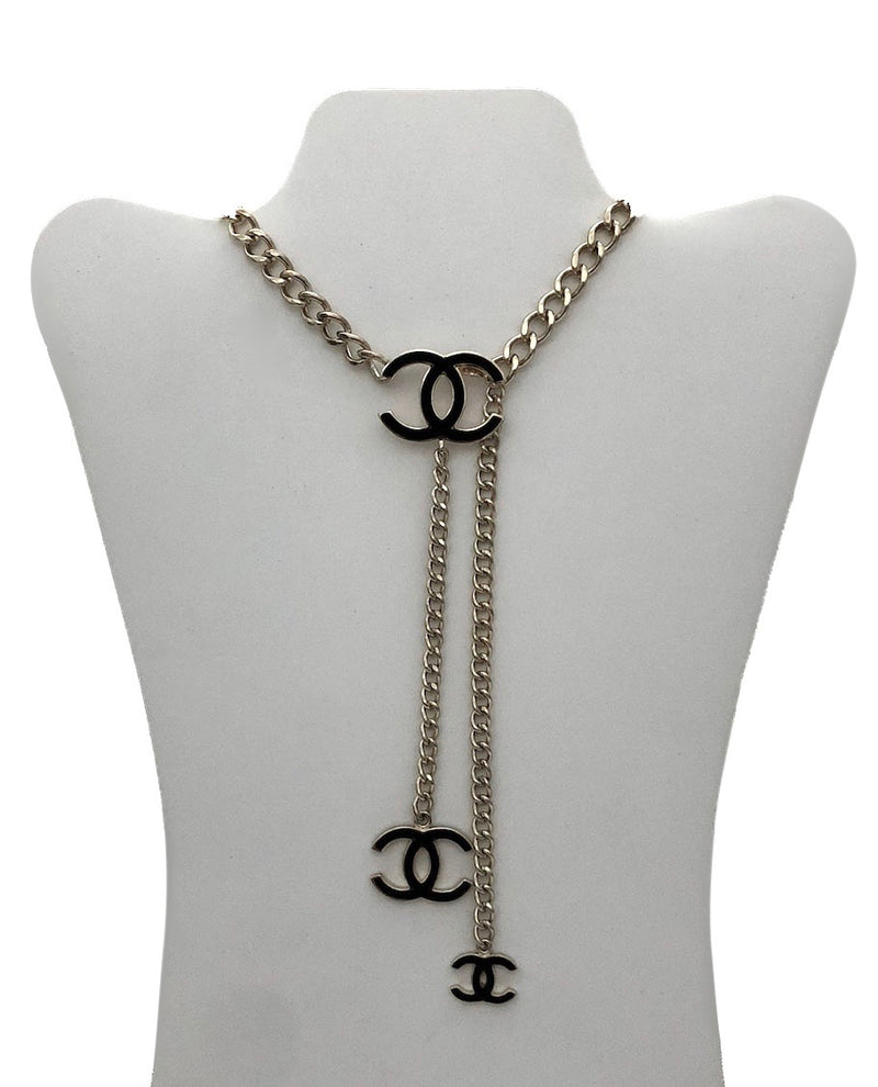 Chanel Black Enamel Brushed Gold Necklace