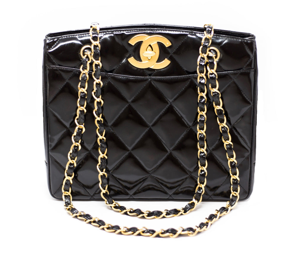 Chanel Vintage Black Patent Rare Jumbo Turnlock Tote