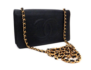 Authentic Chanel Black Caviar Wallet On Chain (WOC)