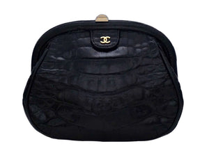 Chanel Vintage Black Crocodile Mini Convertible Clutch