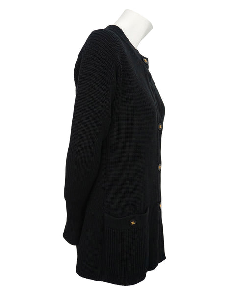 Authentic Chanel Classic Black Wool Blend Cardigan Sweater Jacket Size 36