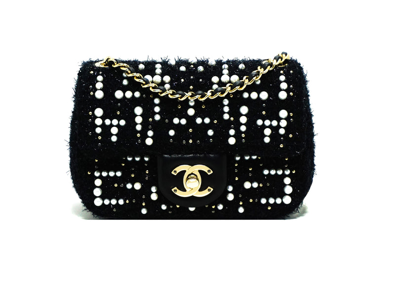 Chanel Rare Tweed Cosmos Pearl Mini Flap Bag