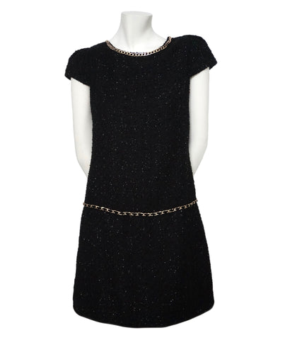 Authentic Chanel Black Boucle Tweed Runway Dress Size 38