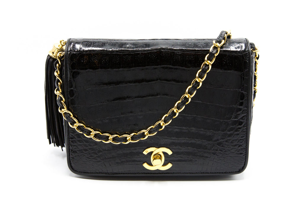 Chanel Vintage Black Alligator Rare Mini Flap Bag
