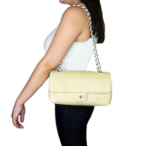"Chanel Bone White Python 2.55 10"" Single Flap Bag"