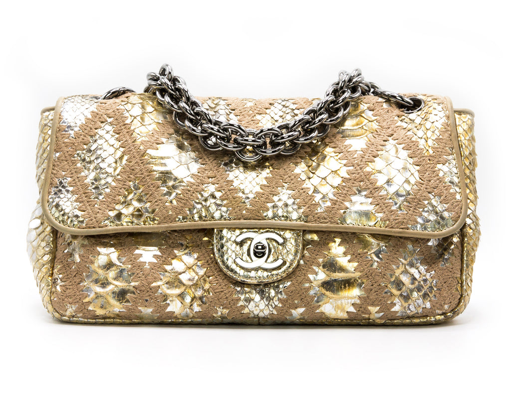 Chanel Gold Metallic Python & Crochet Rare Jumbo Flap