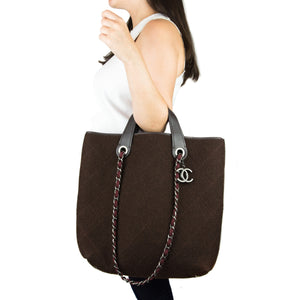 Chanel Modern Brown Cotton & Leather Maxi Tote