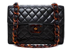 Chanel Vintage Black Lambskin Rare Tortoise Single Flap Jumbo