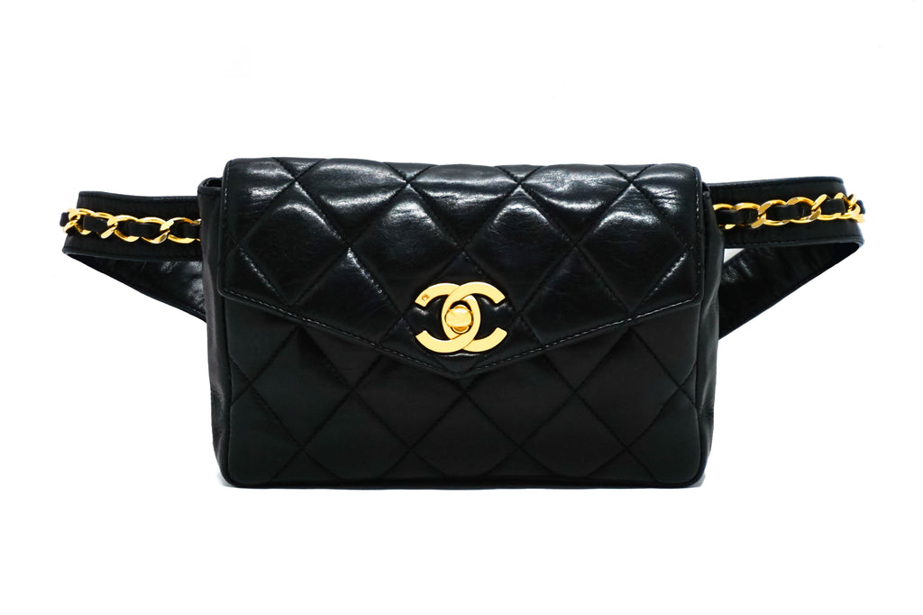 Chanel Vintage Black Lambskin Belt Bag
