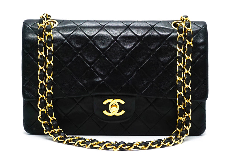 "Chanel Vintage Black Lambskin Medium Classic 2.55 10"" Flap Bag"