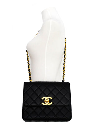 Chanel Vintage Rare Black Lambskin XL CC Flap Bag