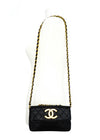 Chanel Vintage Rare Black Lambskin XL CC Mini Flap Bag