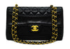 "Chanel Vintage Black Lambskin Medium Classic Band Across 10"" Flap Bag"