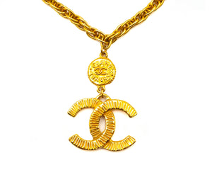 Chanel Vintage Rare Classic Logo Necklace