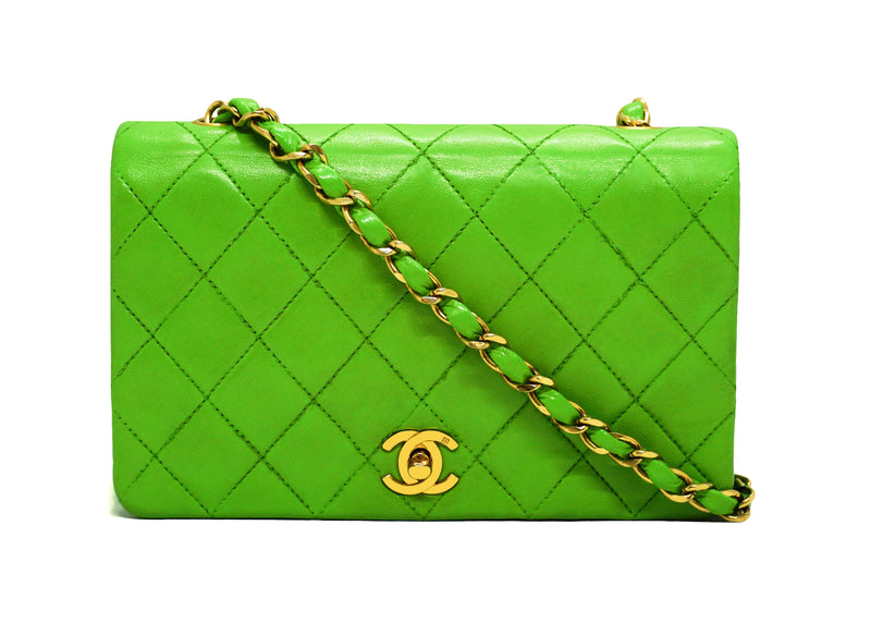 Chanel Vintage Lime Green Lambskin Classic Mini Flap Bag