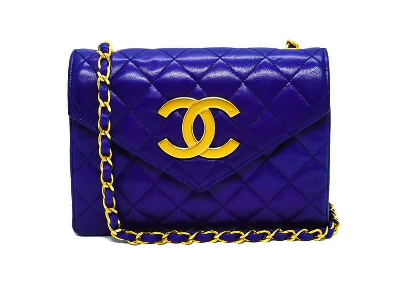 Chanel Vintage Rare Royal Blue Envelope Flap Bag