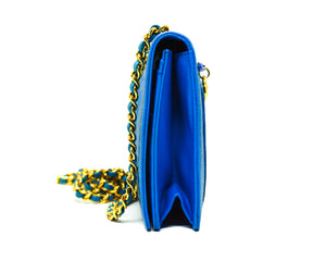 Chanel Vintage Rare Blue Caviar Wallet on Chain (WOC)