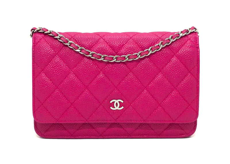 Chanel Rare Hot Pink Caviar Wallet on Chain (WOC)